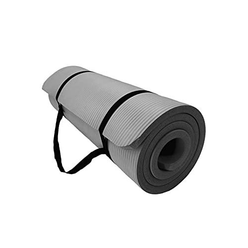 DLXYch Esterilla de yoga, Deportes engrosamiento Fitness Home Dance Mat, con fácil ajuste y correa de transporte 190 x 80 x 2 cm gris