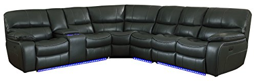 Homelegance Pecos 105' x 117' Leather Gel Power Reclining Sectional with LED, Gray
