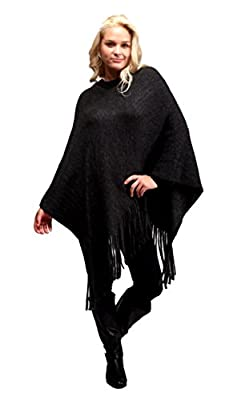 Solid Color Sweater Poncho Shrug with Fringe for Women (Black) by