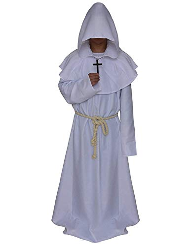 Disfraz de Monje con Capucha, de Friar Medieval, renacentista, Sacerdote, Cosplay - Blanco - Large