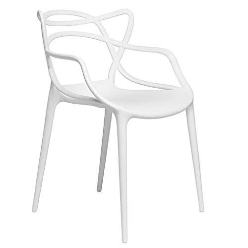 QTQHOME Moderna Sedia da Pranzo in Plastica,impilabile Poltrona metà Secolo Impigliato Modellato Sedia di Design Accento Sedia Sedia Bar per La Cucina Bianca Altezza:46cm/18inch