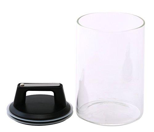 Felio 保存容器 ガラス キャニスター 1300cc エア・リデューサー レギュラー ワンタッチ操作 密閉 酸化防止 色移り心配なし F8752 1個入