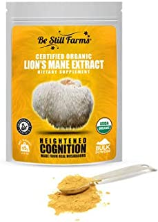 Be Still Farms Lion's Mane Powder (65g) Real Mushrooms for Lions Mane Elixir or Lions Mane Tea from Organic Mushroom Farm - Lions Mane Powder Extract is The Ideal Smoothie Booster Powder