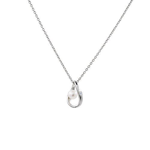 Secret & You Collar de Perla Cultivada de Agua Dulce Compuesto por una Cadena y un Colgante de Plata de Ley de 925 milésimas Perla Redonda de 4,5 a 5 mm y una circonita - 40 o 45 cm de Largo.