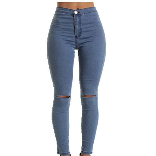 Pantalones vaqueros elásticos para las mujeres de la flor elástica pantalones vaqueros femeninos delgados del dril de algodón señoras Azul azul M