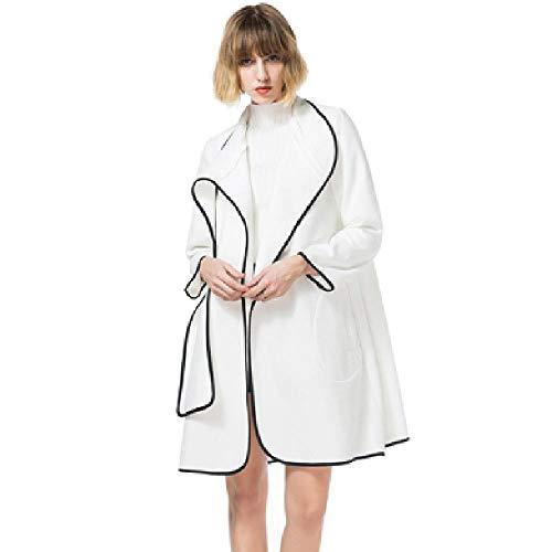 Otoño Nuevo diseño Abrigo de Lana Largo Cuello mandarín de Tres Cuartos Abrigo de Lana Blanco Mujeres Elegantes Gabardina Coreana