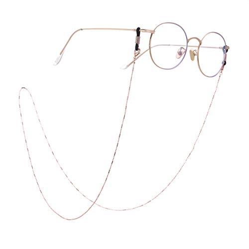 LIKGRAN - Cadenas de gafas de sol para mujer, con cuentas y cuerdas, color dorado rosa, conector negro