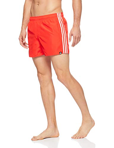 adidas Herren 3 Stripes Very Short Length Badehose, Hi-Res Red/Off White, L