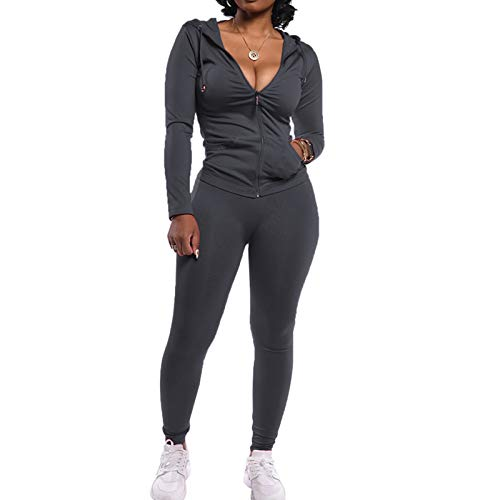 Track Suits for Women Set Long Sleeve Zipper Hoodie Jacket with Sweatpants 2 Piece Sweatsuit Outfits Grey XX-Large