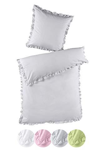 optidream Bettwäsche Set Rüschen Romantik 135x200 100% Baumwolle Renforce mit Reißverschluss Uni Farben Weiss