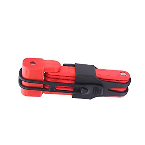 SOONHUA - Candado plegable para bicicleta (6 juntas, universal, acero de aleación, antirrobo, con soporte para llaves (negro)
