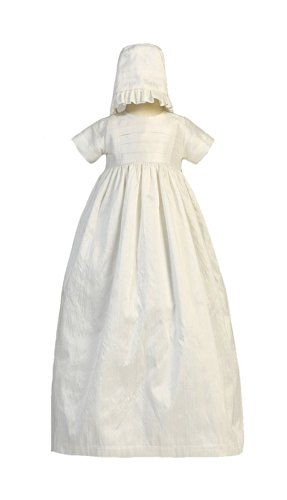 Silk Heirloom Gown with Two Hats (Boy and Girl) Christening Baptism Special Occasion Family Outfit with Two Matching Hats - S (3-6 Month, 8-12 lbs)