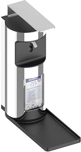 KEUCO Desinfektionsmittel-Spender aus Metall, für 0,5 Liter Euronorm-Flaschen, abnehmbare Tropfschale, Desinfektionsspender, Seifenpumpe, Wandmontage