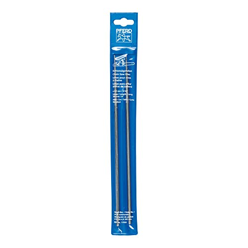 PFERD Kettensägefeilen, 2 Stück, rund, 200mm x 4,8mm, Spiralhieb, Classic Line, in Kunststofftasche, 11083203 – für das manuelle Schärfen von Sägeketten