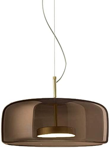DHFUIH Lámpara de Techo Colgante de Barra de desván con Acabado de latón de diseño de luz Colgante de Vidrio LED Moderna [Clase energética A ++] (Gris, 26 cm)