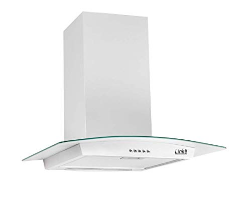 LINKË LKDG60W 60 cm encastrable aspirante silencieuse Cuisine inclinée Blanche | Hotte Decorative Murale galbée, Blanc
