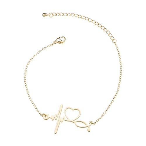 Hanone Pulsera hipoalergénica con Forma de ECG de Acero Inoxidable para Mujer, Accesorios Decorativos Femeninos para Mujer