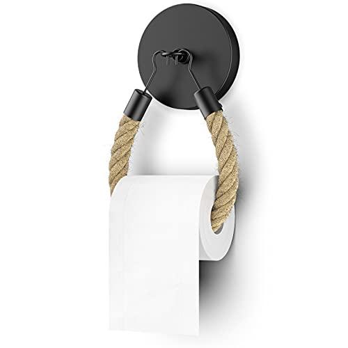 WD&CD Toilettenpapierhalter OHNE Bohren Industrial Klopapierhalter SCHWARZ Handtuchhalter Rund Ring Vintage Bad Handtuchring WC Papier Halterung Klorollenhalter WC Rollenhalter Toilettenrollenhalter