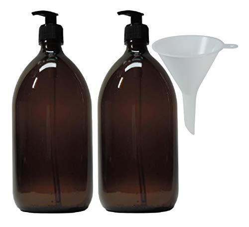mikken 2 Seifenspender 1000 ml Lotionspender aus Braunglas, BPA frei, lebensmittelecht inkl. Trichter