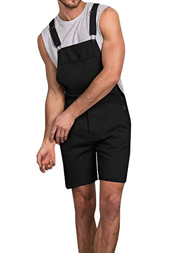 Gtealife Mens Bib Overall Shorts Lightweight Casual Loose Fit Walkshort Jumpsuit Button Hole Rompers