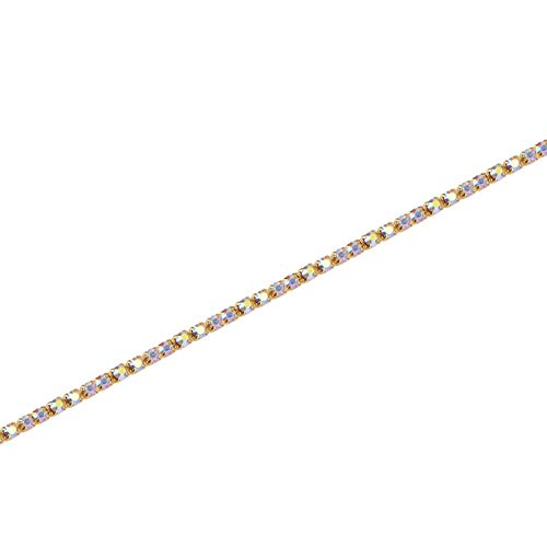 Cadena de diamantes de imitación, cadena de diamantes de imitación de cristal, apliques de ropa para collares, decoración de bricolaje para vestidos de novia, accesorios para zapatos(Golden AB, 5mm)