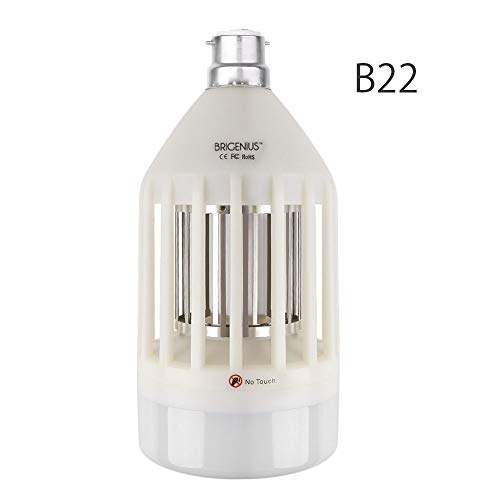 BRIGENIUS [Producto Breveté] Bombilla UV Eléctrica antimosquitos, de Bayoneta B227,5W, contra Mosquitos, Moscas, Avispas, para Interior o Exterior, Jardín, Garaje