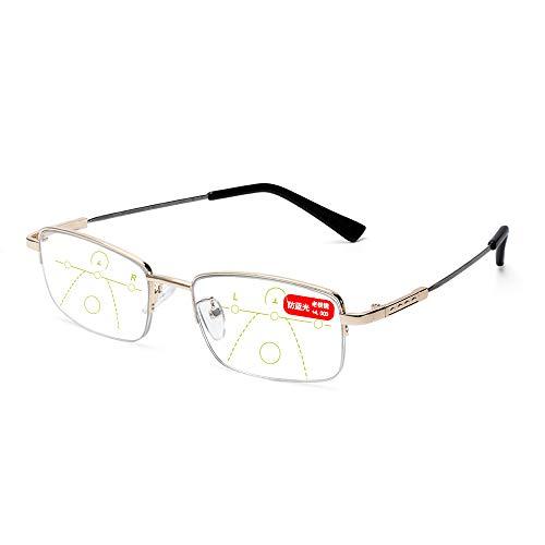 Blauwlichtbril Stralingsbescherming Dioptriebril Computerbril Presbyopie Brillen Leesbril (sterkte 4.00, goud)