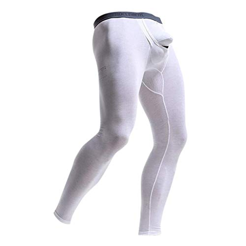 Herren Stretch Leggings Sport Gym Hose Bekleidung Running Festlich Yoga Sporthose Slim Fit Sweatpants Bulge Pouch Unterhosen Long Pants (Color : Weiß, One Size : 4XL)