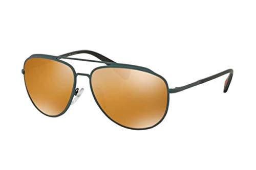 Prada PS55RS gafas de sol w/polarizado oscuro Marrón Oro Espejo Lente UFI5N2 SPS55R unisex-adulto green Rubber Grande