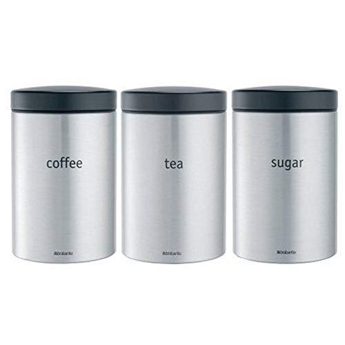 Brabantia 314926 - Juego de 3 Botes para té, café y azúcar, 1.4 L, Acero Mate Anti-Huellas
