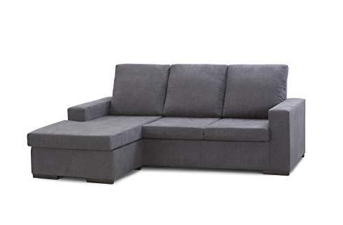 Home Heavenly- Sofá ChaiseLongue Chicago, sofá de 3 plazas con pouff reversible derecha e izquierda en tapizado en tela antimanchas color gris