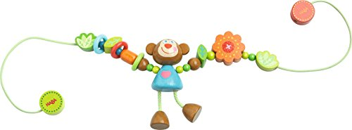 Haba 302948 - Chaîne de Poussette Singe Lino avec Perles en Bois de différentes Couleurs et Formes et Singe en Bois - Jouet pour bébé pour la Poussette