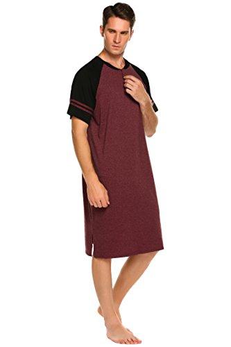 Nachthemd Herren Kurzarm Patientenhemd Schlafanzug Nachtwäsche mit Knopfleiste Knielang Schlafkleid für Männer Sommer (Rot, M)