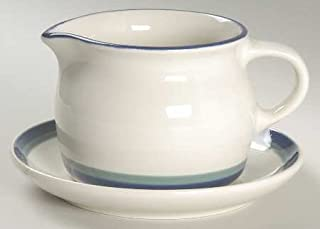 Pfaltzgraff Northwinds (USA) ~Gravy Boat & Underplate ~Discontinued 1999~VERY Hard to Find~Stoneware, Blue & Green Bands