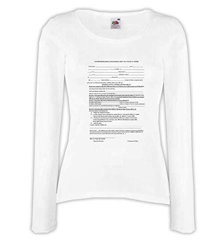 Settantallora - T-Shirt Maglietta Manica Lunga Donna JCOV_03 Modulo Autocertificazione Covid-19 Taglia S