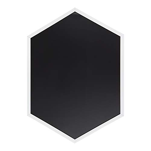 """Kate and Laurel Laverty Modern Magnetic Hexagon Framed Chalkboard, 22"""" x 31"""", White, Contemporary Geometric Frame, Eraseable Chalkboard Surface"""