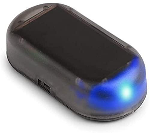 Sistema De Alarma De Coche De Energía Solar, Simulación De Luz Led De Vehículo, Sistema De Seguridad De Lámpara Parpadeante Antirrobo De Advertencia, Productos Antirrobo (Blue)