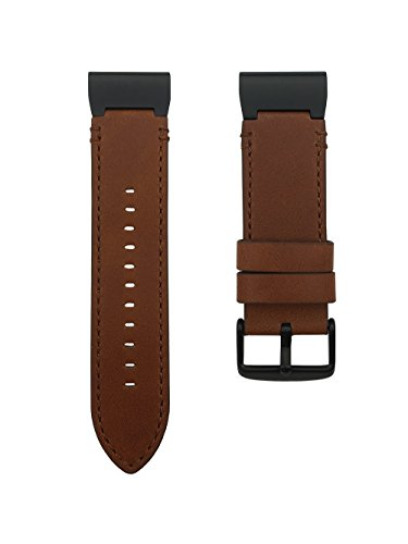 LDFAS Leather Band Compatible for Fenix 6X/5X Plus Band, Genuine Leather 26mm Quick Fit Watch Strap Compatible for Garmin Fenix 6X/6X Pro/5X/5X Plus/3/3 HR/Descent Mk1 Smartwatch, Brown/Black