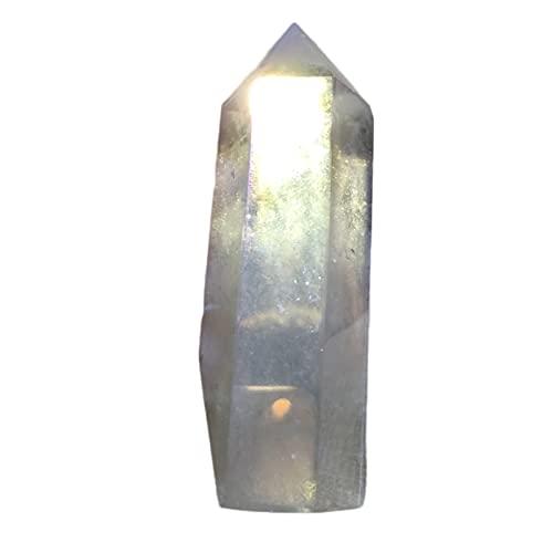 SHAONANSHI Varita de cuarzo natural claro decoración decoración punto colorido piedra regalo prisma hexagonal cristal