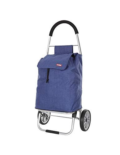 caddie Mahola Poussette de marché Chariot de Course Pliable 2 Roues 50 litres Sac imperméable Lavable Couleur Bleu