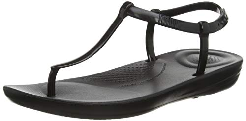 Fitflop Damen Iqushion Splash - Pearlised Zehentrenner, Schwarz (Black 001), 38 EU
