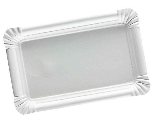 250 Pappteller eckig 10x16cm unbeschichtet weiß