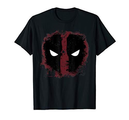 Marvel Deadpool Mask Spray-Paint Print Graphic T-Shirt