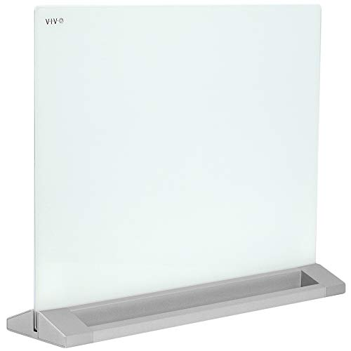 VIVO Freestanding Glass 23 x 19 inch Desktop Dry Erase Board, Privacy Divider, Double-Sided Whiteboard Panel Partition with Base, DESK-WB23G