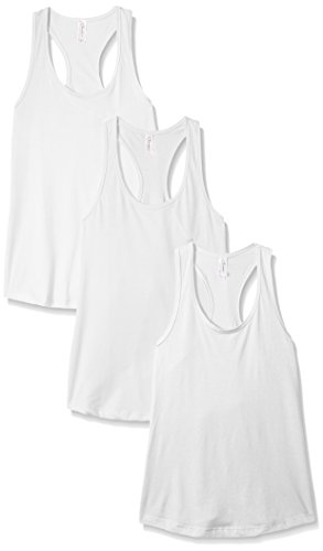 Clementine Apparel Women's Petite Plus Ideal Racerback Tank (Pack of 3), White, S