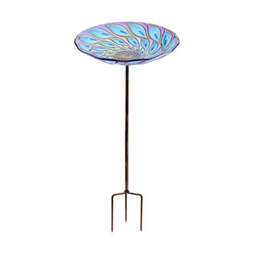 Vogeltränke aus Glas, 66 cm hoch, mit Metallpfahl für Garten, Rasen, Hof, Pfau
