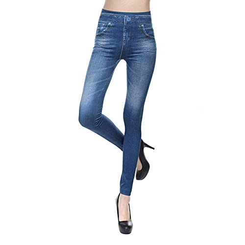 Leggings Cintura Alta Para Mujer,Medias De Entrenamiento Para Mujer, Pantalón De Yoga De Cintura Alta, Imitación De Mezclilla Estampada, Mallas De Yoga Para Mujer, Color Azul, Mallas De Yoga Opaca