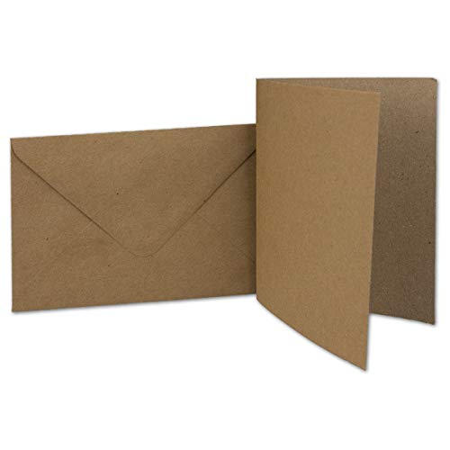 30 Kraftpapier-Karten-Umschlag Set DIN A6 Falt-Karten Natur-Braun 10,5x14,7 cm 220 g/m² Brief-Umschlägen DIN C6 11,5x16,0 cm 90 g/m² Natur-braun