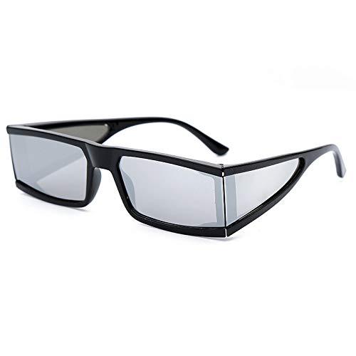 ShZyywrl Gafas De Sol De Moda Unisex Gafas De Sol Plateadas De Moda para Mujer Cuatro Espejos Gafas De Sol Pequeñas Cuadradas Vintage Black Punk Men 1Blacksilv