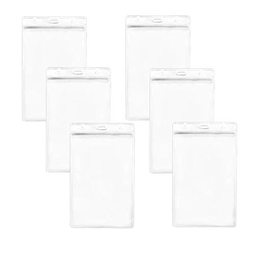 """YEJI 48Pcs (6x4"""" Clear Frosted Extra Large) Clear Transparent Extra Large Badge Holders Heavy Duty ID Card Badge Holder for ID Card Name Tag Passport ID, Cash, Plane Ticket Credit Card Receipts"""